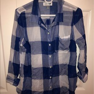 White and Blue Check button up